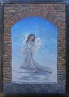 Obraz do salonu artysty Jan Bembenista pod tytułem Anioł z różą