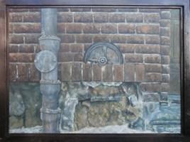 Obraz do salonu artysty Jan Bembenista pod tytułem Kotwa w murze