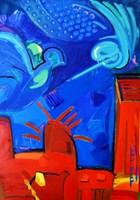 Living room painting by Ewa Osińska-Rozpędek titled Advances
