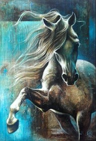 Living room painting by Kamila Karst titled Blue horse