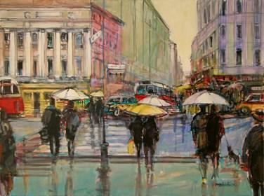 Obraz do salonu artysty Piotr Rembieliński pod tytułem Paryż w deszczu