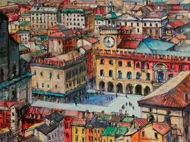 Obraz do salonu artysty Piotr Rembieliński pod tytułem Melodie miasta, Bolonia