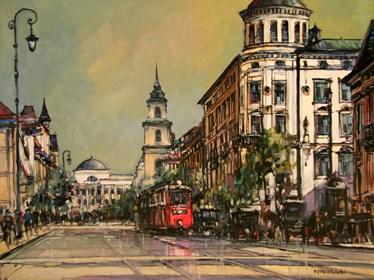 Obraz do salonu artysty Piotr Rembieliński pod tytułem Krakowskie Przedmieście w Warszawie