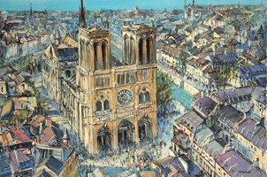 Living room painting by Piotr Rembieliński titled Notre Dame