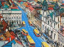 Obraz do salonu artysty Piotr Rembieliński pod tytułem Warszawa Krakowskie Przedmieście