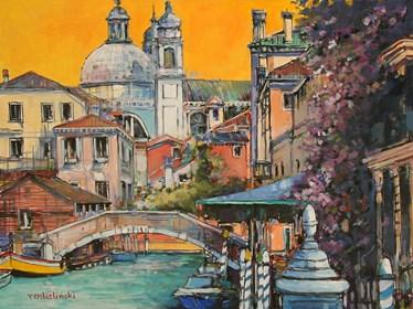 Obraz do salonu artysty Piotr Rembieliński pod tytułem Wenecja Rio Del Ognissanti