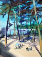 Living room painting by Joanna Sadecka titled Blue umbrella