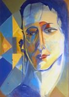 Obraz do salonu artysty Katarzyna Rymarz pod tytułem Portret z żółtym trójkątem