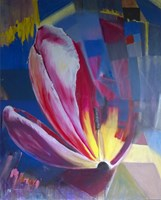 Living room painting by Katarzyna Rymarz titled  Puzzle with a tulip