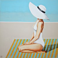 Living room painting by Renata Magda titled Encounter at the beach