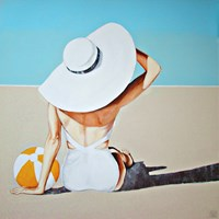 Living room painting by Renata Magda titled Meeting on the beach
