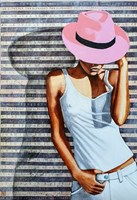 Living room painting by Renata Magda titled Pink hat