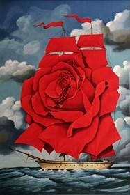 Grafika do salonu artysty Rafał Olbiński pod tytułem Red rose ship
