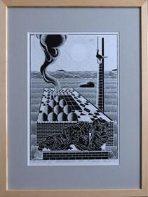 Grafika do salonu artysty Henryk Płóciennik pod tytułem Arcydzieło IX autocynkografia