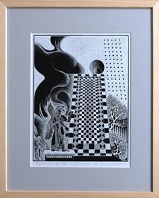 Grafika do salonu artysty Henryk Płóciennik pod tytułem Arcydzieło X autocynkografia