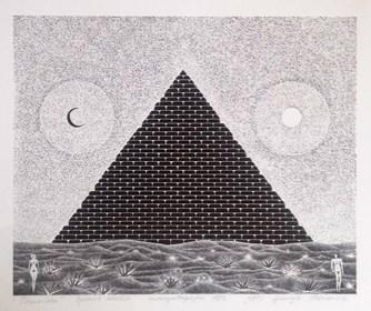 Grafika do salonu artysty Henryk Płóciennik pod tytułem Piramida