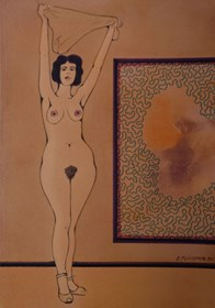 Obraz do salonu artysty Henryk Płóciennik pod tytułem Kobieta stojąca - akt na tle ściany 2