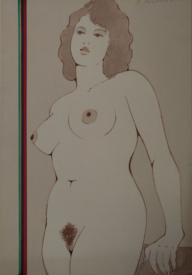 Obraz do salonu artysty Henryk Płóciennik pod tytułem Kobieta stojąca - akt na tle ściany 3