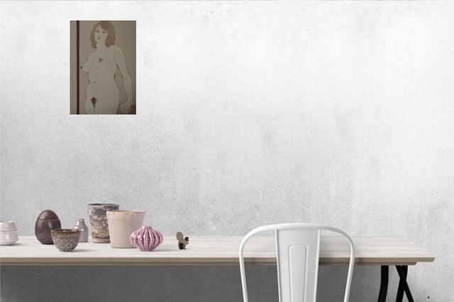 Kobieta stojąca - akt na tle ściany 3 - wizualizacja pracy autora Henryk Płóciennik