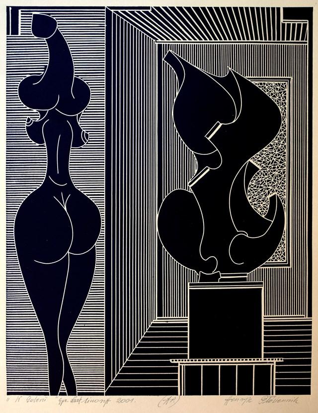Grafika do salonu artysty Henryk Płóciennik pod tytułem W galerii