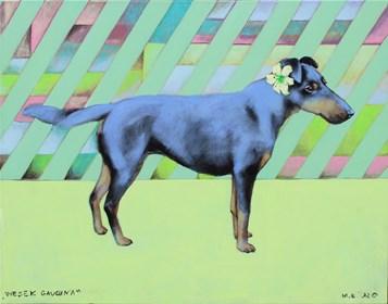 """Obraz do salonu artysty Małgorzata Łodygowska pod tytułem """"Piesek Gauguin'a"""""""