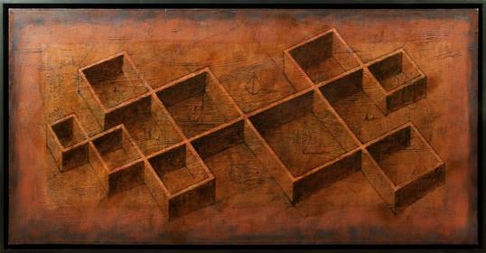 Obraz do salonu artysty Grzegorz Klimek pod tytułem Osiem pokojów