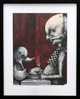 Obraz do salonu artysty Piotr Kamieniarz pod tytułem Strzeż się przyjaciół zwłaszcza przy śniadaniu