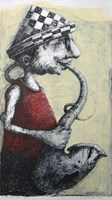 Obraz do salonu artysty Piotr Kamieniarz pod tytułem Saksofoinista