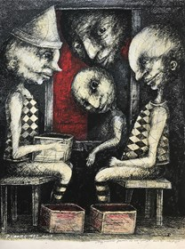 Living room painting by Piotr Kamieniarz titled Accepting presents from strangers can be intriguing