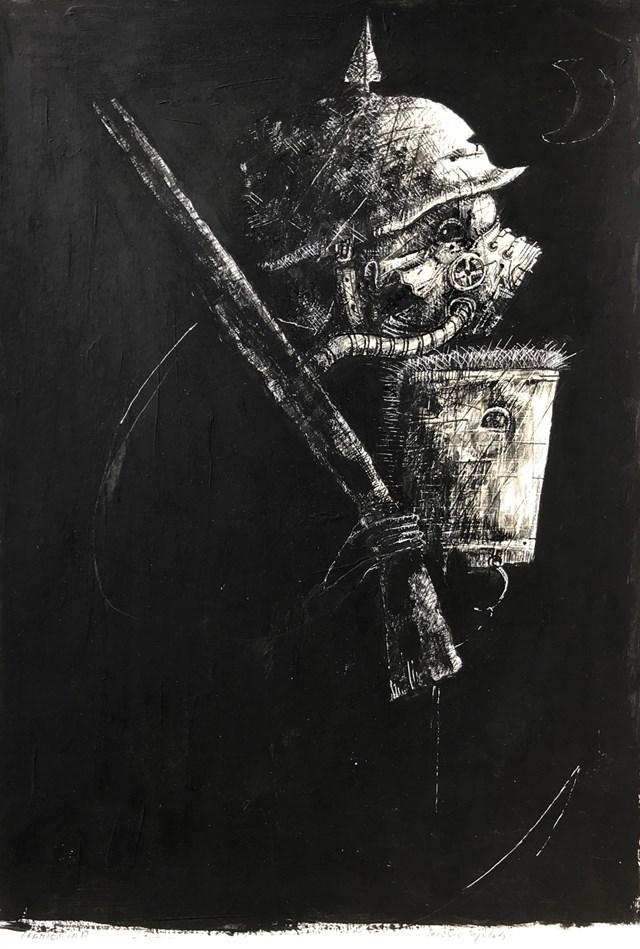 Obraz do salonu artysty Piotr Kamieniarz pod tytułem Jeździec apokalipsy