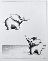 Living room painting by Piotr Kamieniarz titled Two elephants