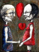 Living room painting by Piotr Kamieniarz titled  We know each other so well that I decided to ask you for a hand
