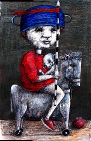 Living room print by Piotr Kamieniarz titled Little knight