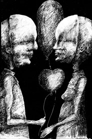 Living room print by Piotr Kamieniarz titled  We know each other so well 2