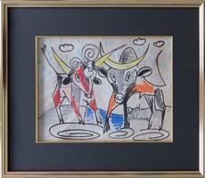 Obraz do salonu artysty David Pataraia pod tytułem Byczki 1