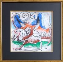 Obraz do salonu artysty David Pataraia pod tytułem Byczki 2