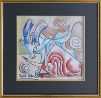 Obraz do salonu artysty David Pataraia pod tytułem Byczki 3