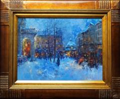 Obraz do salonu artysty Anatol Martyniuk pod tytułem Lwów, Wieczór Na Rynku