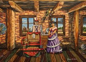 Obraz do salonu artysty Krzysztof Żyngiel pod tytułem Człowiek z magicznym pudełkiem