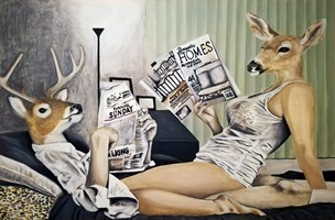 Living room painting by Lech Bator titled Read Me