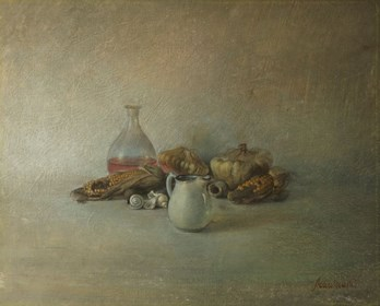 Living room painting by Wiesław Nowakowski titled From the Beige Still Life series 1