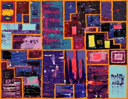 Living room painting by Krzysztof Pająk titled Purple painting