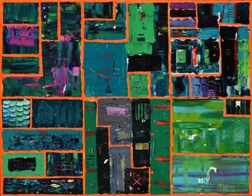 Obraz do salonu artysty Krzysztof Pająk pod tytułem Obraz zielony