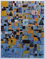 Grafika do salonu artysty Krzysztof Pająk pod tytułem Niebiesko zółty układ scalony