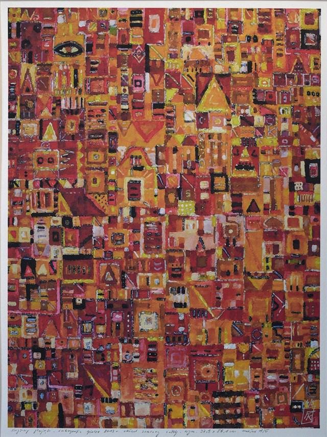 Grafika do salonu artysty Krzysztof Pająk pod tytułem Zółty układ scalony
