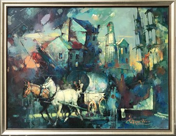 Obraz do salonu artysty Wacław Sporski pod tytułem Wędrowna trupa