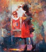 Living room painting by Wacław Sporski titled Like mom