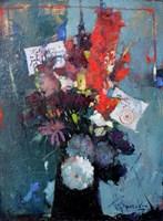 Living room painting by Wacław Sporski titled Flowers