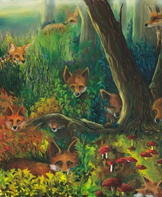 Living room painting by Barbara Kozaczkiewicz titled Foxes