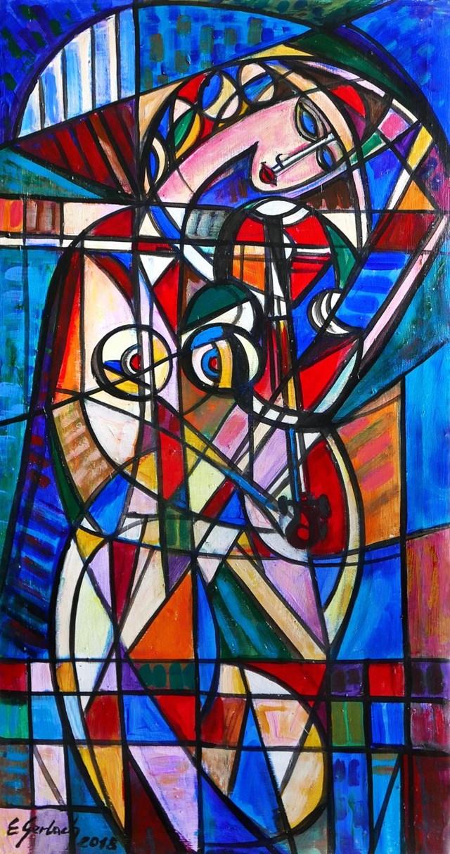Obraz do salonu artysty Eugeniusz Gerlach pod tytułem Strojąca skrzypce